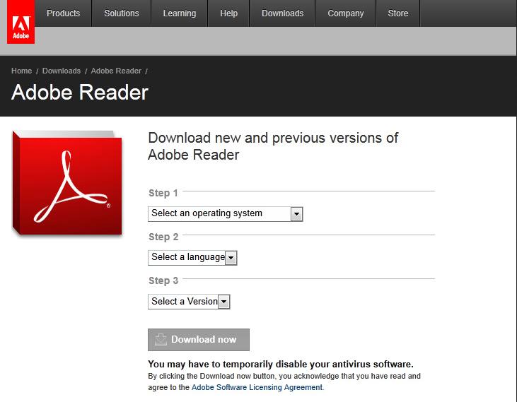 установка Adobe Reader