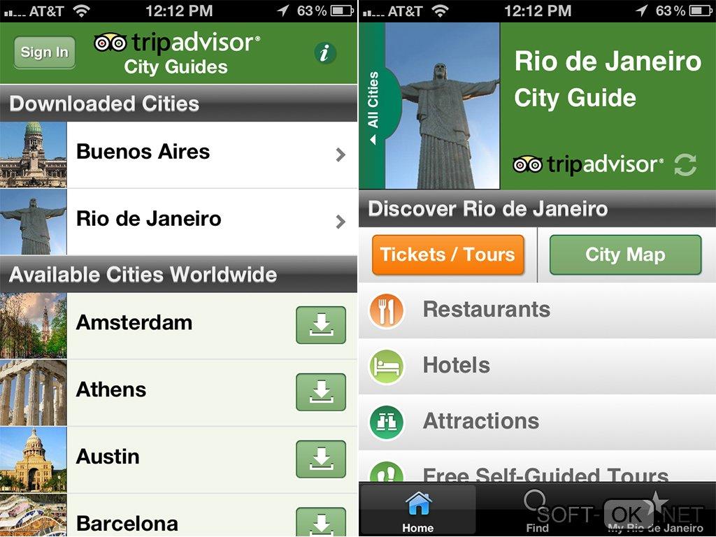 Каталог городов в приложении TripAdvisor