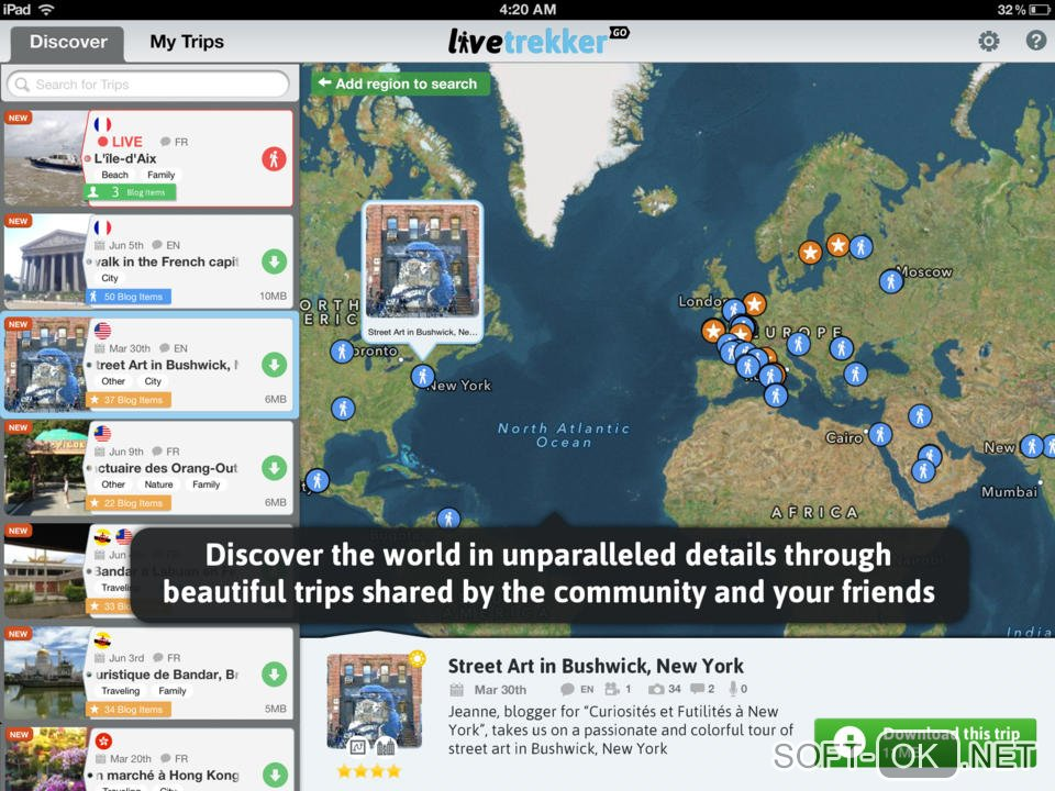 Карта путешествий LiveTrekker