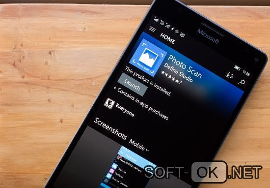 Приложения PhotoScan на смартфоне от Microsoft