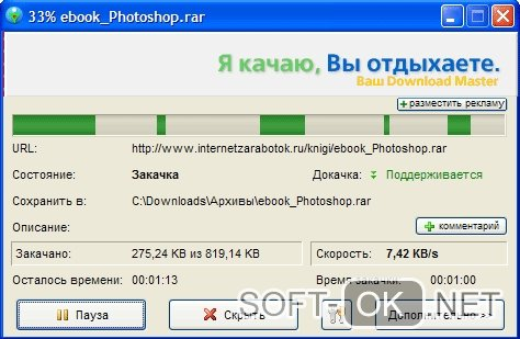 Окно процесса загрузки в приложении Download Master