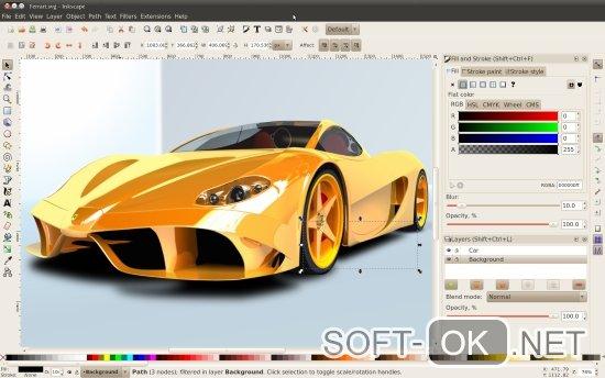 Основное окно приложения inkscape