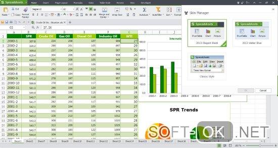 Встроенный Excel редактор в приложении wps office