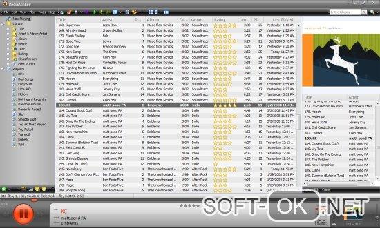 Основное окно и интерфейс в проигрывателе Media Monkey