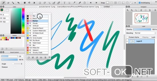 Большой выбор кистей для рисования в приложении FireAlpaca