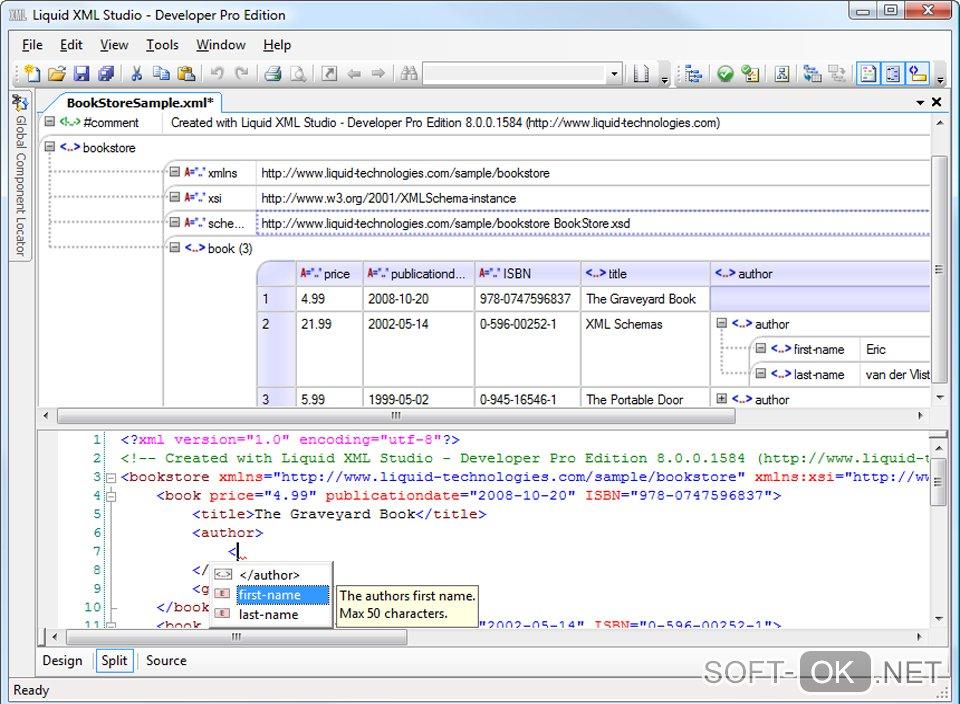 В программе Liquid Technologies Liquid XML Studio открывается файл формата .xml