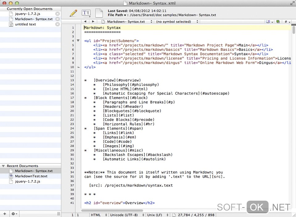 Bare Bones BBEdit позволяет открыть .xml файл на Mac