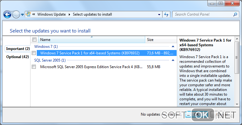 Инсталляция Service Pack 1 для устранения ошибки 0x80240017 в Windows 7
