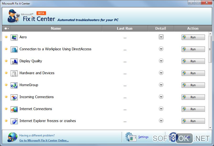 Microsoft Fix it для исправления ошибок Windows 7