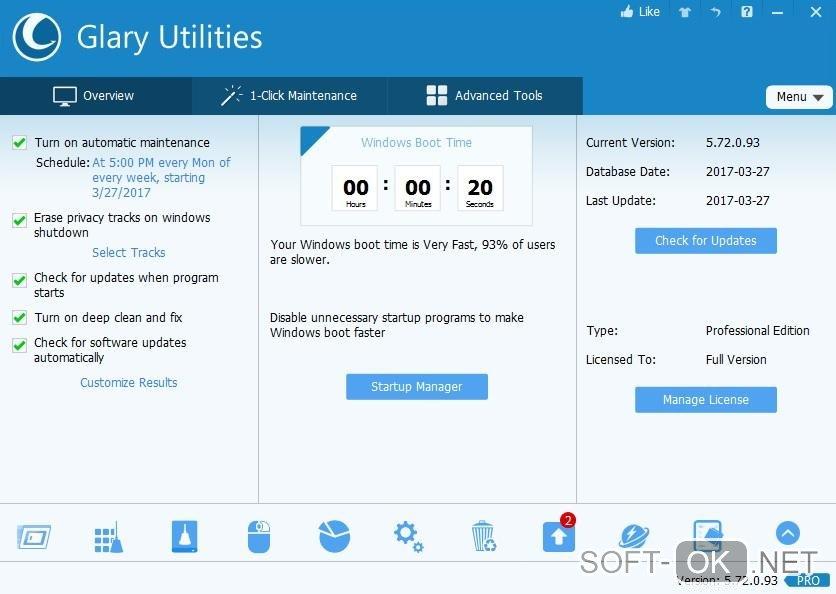 Glary Utilities для исправления ошибок Windows 7