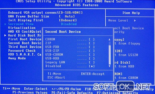 Установка Windows через BIOS