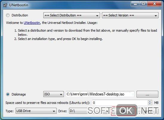 Запись Windows 7 с помощью UnetBootin
