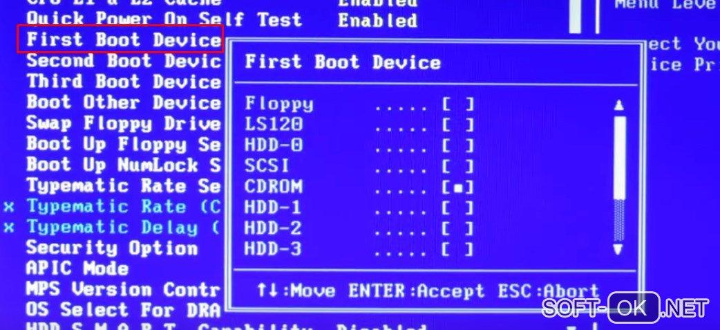 Установка Windows 10 через Bios