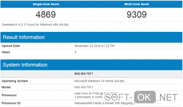 Показатели производительности Intel Core i3 7100