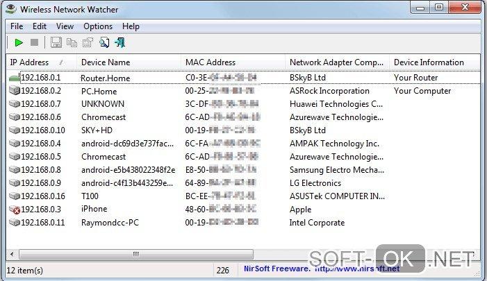 Проверка количества подключений в Wireless Network Watcher