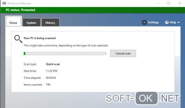 Очистка системы от вирусов и вредоносного ПО с помощью Windows Defender