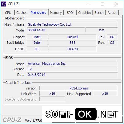 Внешний вид интерфейса программы CPU-z
