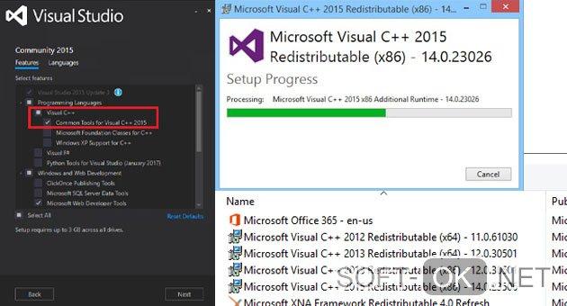 Установка Microsoft Visual C++ 2015